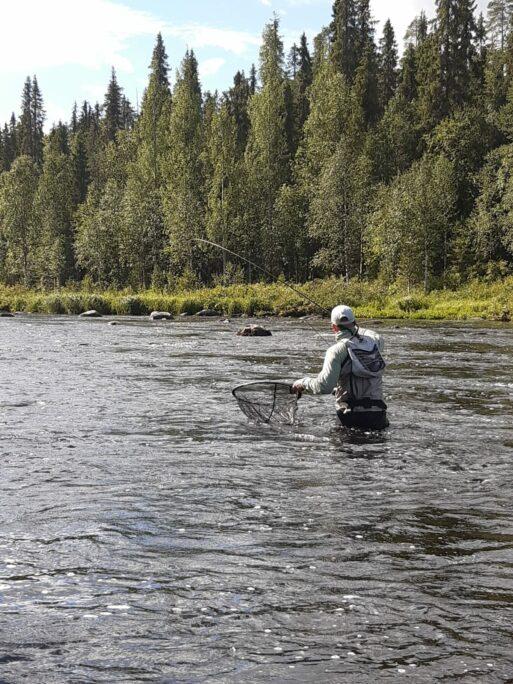 Jyrki doing what he does best: bending a fly rod. Photo: Pietari Sipponen.